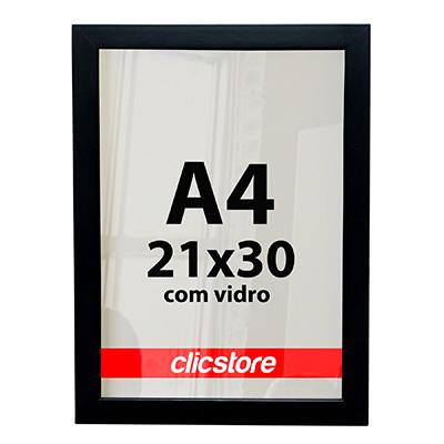 Moldura A4 Caixa Alta Com Vidro e Fundo Para Quadros Fotos Certificados 21x30cm