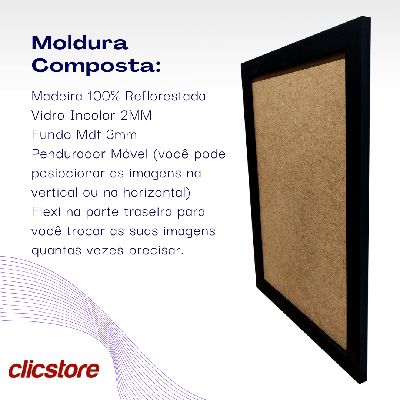 Kit 10 Molduras A4 Caixa Alta Com Vidro e Fundo 21x30cm
