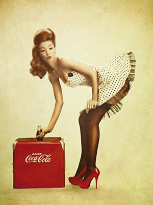 Placa Decorativa Vintage Retro Coca Cola Pin-up PDV066