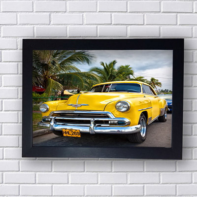 Quadro Decorativo Carro Amarelo Cuba
