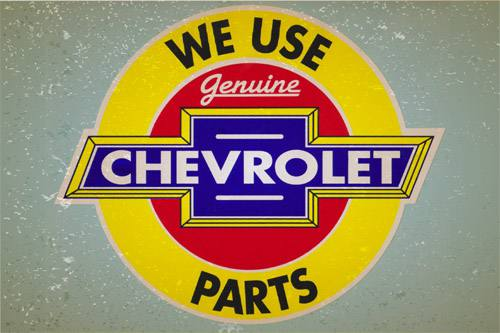 Placa Decorativa Retro Carros Chevrolet Parts PDV047