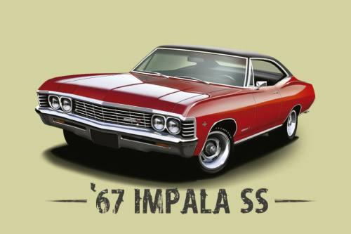 Placa Decorativa Vintage Carros Impala SS 67 PDV214