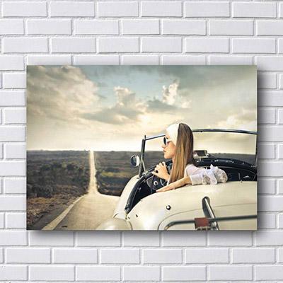 Quadro de Carro e Mulher Vintage