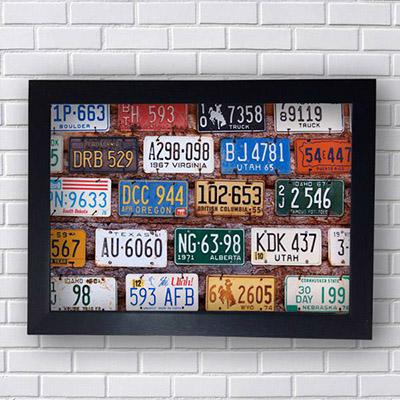 Quadro de Placas de Carros USA
