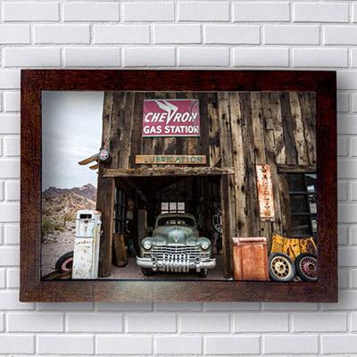 Quadros de Carros Antigos Vintage Gas Station