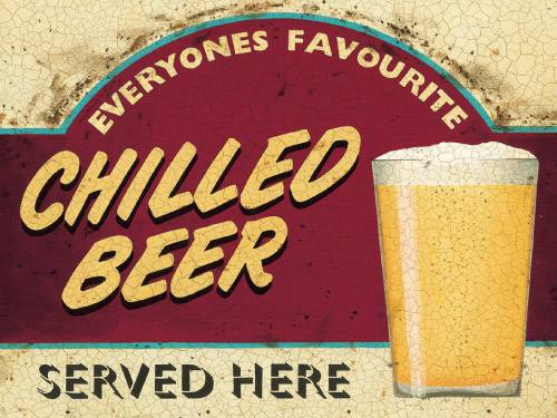 Placa Decorativa Retro Cerveja Chilled Beer PDV006