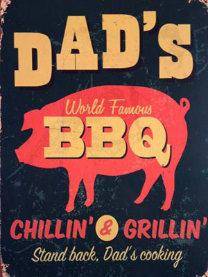 Placa Decorativa Vintage Retro Dad BBQ PDV075