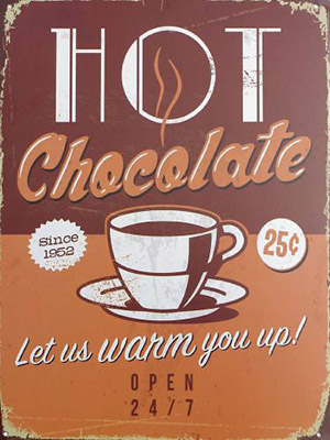 Placa Decorativa Vintage Retro Hot Chocolate PDV081