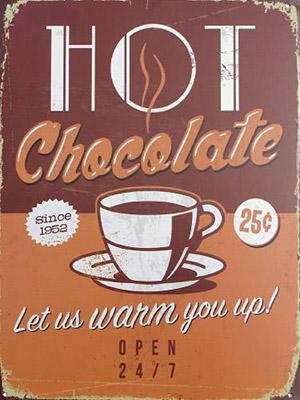 Placa Decorativa Vintage Retro Hot Chocolate PDV081