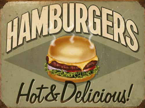 Placa Decorativa Vintage Retro Hamburgers PDV077