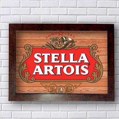 Placa Decorativa Stella Artois em Madeira