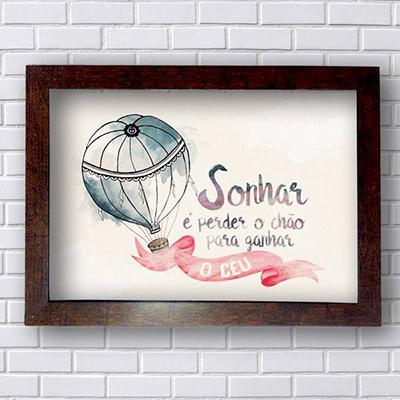 Placa Frases Sonhar é Perder o Céu
