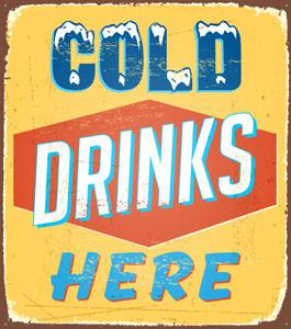 Placas Decorativas Frases Ingles Cold Drinks PDV310