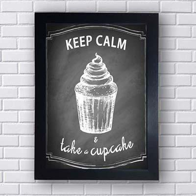 Quadro Decorativo Keep Calm and Take Cupcake