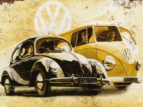 Placa Decorativa Vintage Carros Fusca Kombi PDV159
