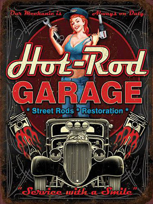 Placa Decorativa Vintage Retro Woman Hot Rod Garage PDV173