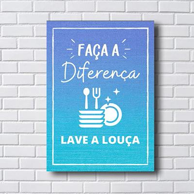 Placa Quadro Decorativo Faça a Diferença, Lave a Louça