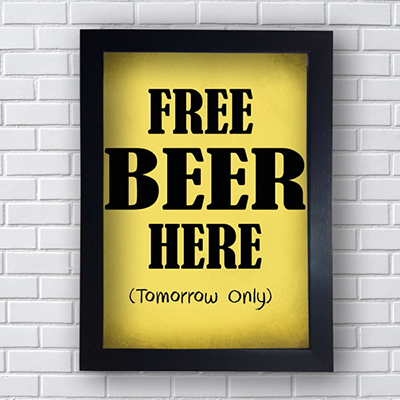 Placa Quadro Decorativo Free Beer Here