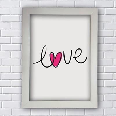 Placa Quadro Decorativo Love