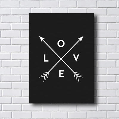 Placa Quadro Decorativo Love Fundo Preto