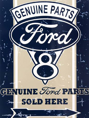 Placa Decorativa Vintage Retro Ford Genuine Parts PDV090