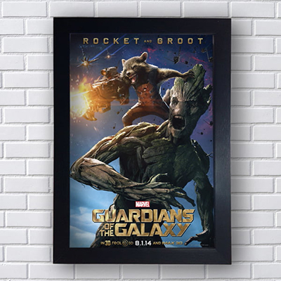Placa Quadro Decorativo Gardians Of The Galaxy Rocket And Groot