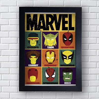 Placa Quadro Decorativo Marvel Super Heróis