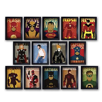 Kit 14 Quadros Herois Marvel Dc Comics  Com Moldura 20x30