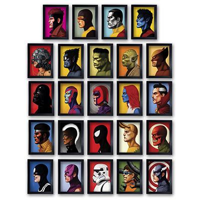 Kit 24 Quadros Herois Marvel Filmes Nerd Geek com Moldura 20x30