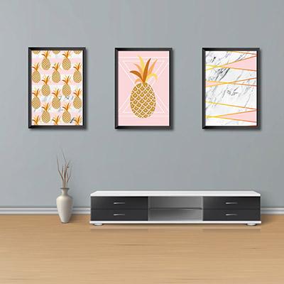 Kit Conjunto 3  Quadros Decorativos Abacaxi  20x30
