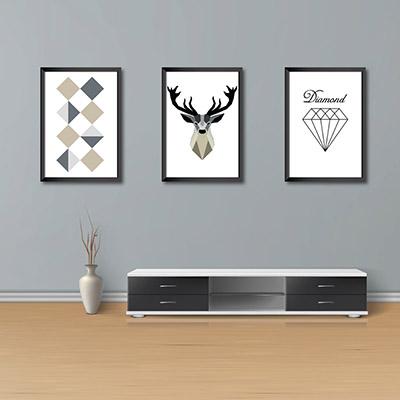 Kit Conjunto 3  Quadros Decorativos Alce 20x30