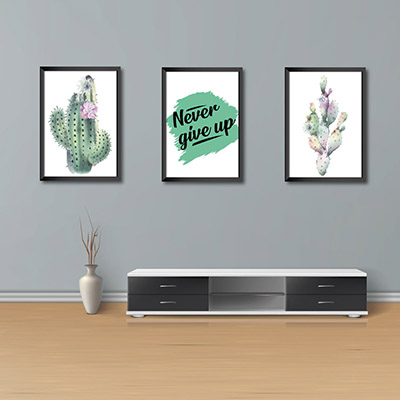 Kit Conjunto 3  Quadros Decorativos Never Give Up 20x30