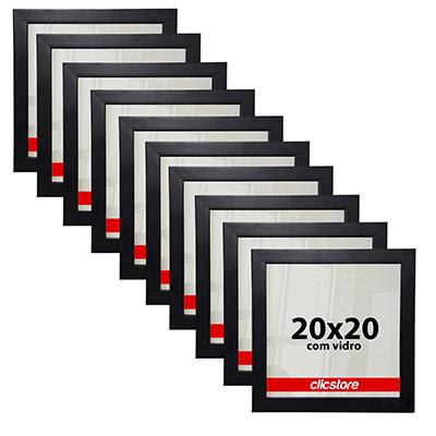 Kit 10 Molduras 20x20Cm Para Foto Poster Com Vidro e Fundo