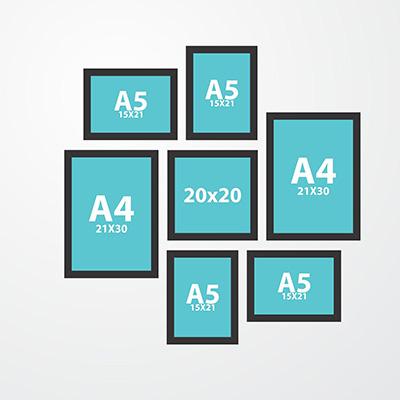 Montagem Kit 7 Molduras Quadros 4 A5 2 A4 1 20x20