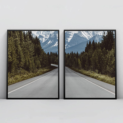 2 Quadros Decorativos Para Sala Quarto Estrada para a Montanha
