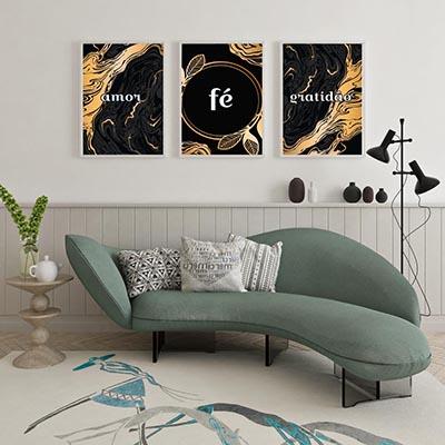 Kit 3 Quadros Decorativos Amor Fé Gratidão Dourado e Preto