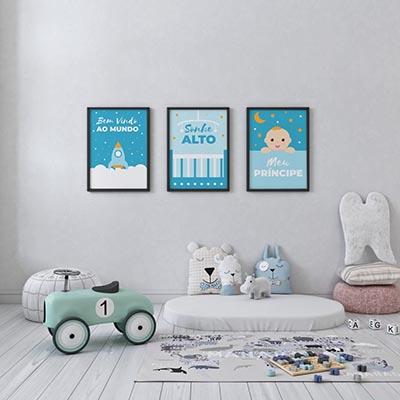 Conjunto De Quadros Decorativos Bem Vindo ao Mundo Meu Príncipe Infantil Menino