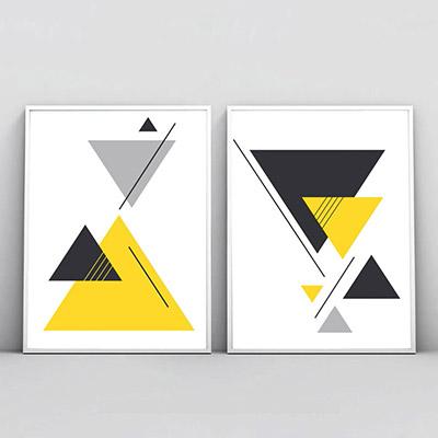 Kit 2 Quadros Decorativos Para Sala Quarto Triângulos Geométricos