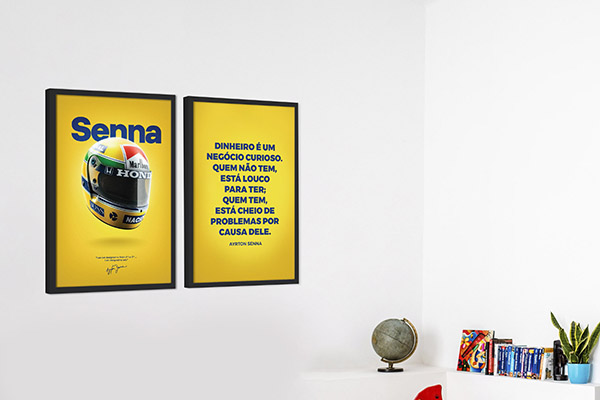 Kit 2 Quadros Decorativos Ayrton Senna Frases Dinheiro É negócio Curioso