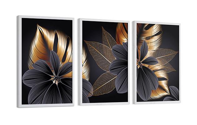 Kit de Quadros Decorativos Flor e Folhas Dourado e Preto Sala Quarto