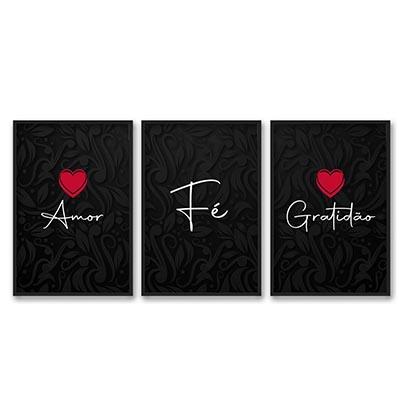 Conjunto 3 Quadros Decorativos Amor Fé Gratidão Quarto Sala