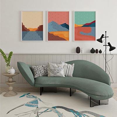 Conjunto De Quadros Decorativos Abstrato Moderno Montanhas Colorido