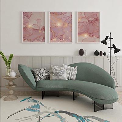 Conjunto De Quadros Decorativos Abstratos Linhas Rosa Gold