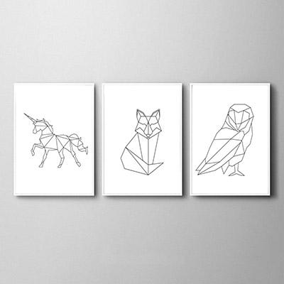 Conjunto De Quadros Decorativos Animais Unicórnio Raposa Coruja