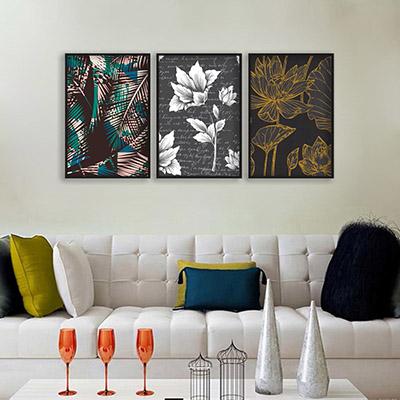 Conjunto De Quadros Decorativos Floral Abstrato