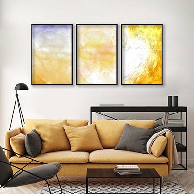 Conjunto De Quadros Decorativos Formas Abstratas Amarelo
