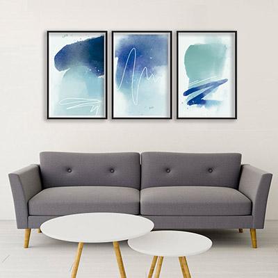 Conjunto De Quadros Decorativos Formas Abstratas Azul