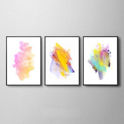 Conjunto De Quadros Decorativos Formas Abstratas Coloridas