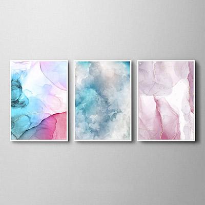 Conjunto De Quadros Decorativos Formas Abstratas Rosa e Azul