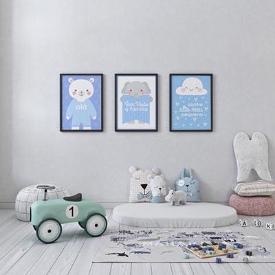 Conjunto De Quadros Decorativos Infantil Menino Sonhe Alto Meu Pequeno Azul